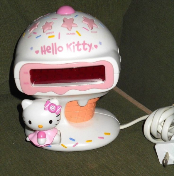 Hello Kitty Alarm Clock Digital Radio Ice Cream