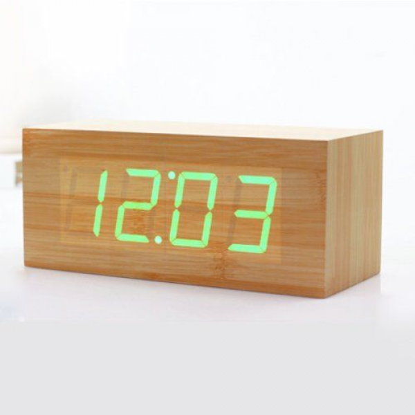 HITO Wood Grain LED Alarm Clock - Time Temperature Date - Sound ...