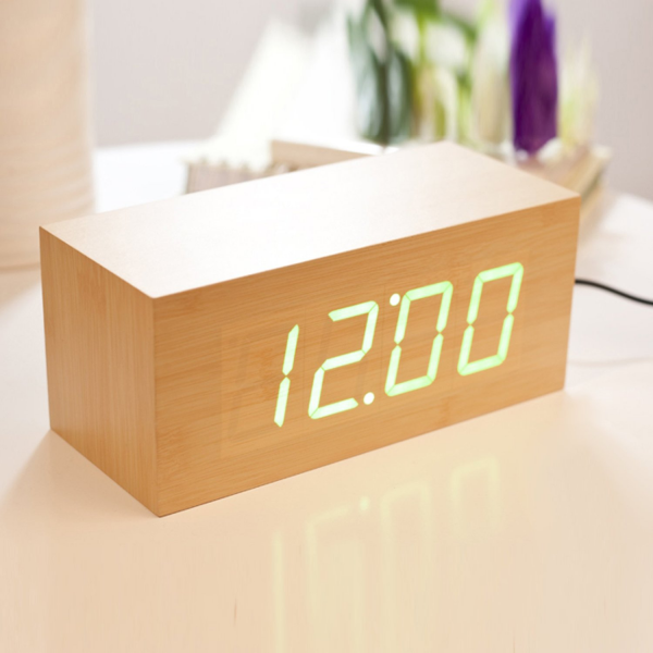 Wood Grain LED Alarm Clock - Time Temperature Date - Sound Control ...