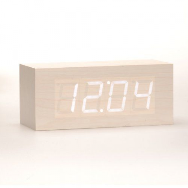 MIU COLOR Wood Grain LED Alarm Clock - Time Temperature Date - Sound ...