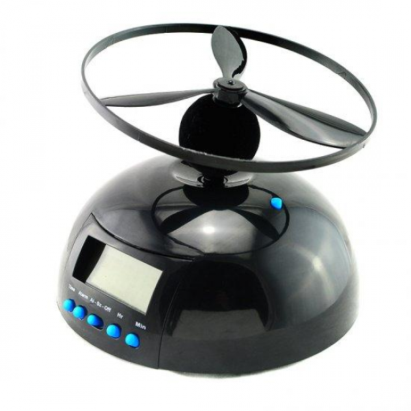 ... UFO Propeller Fly High Helicopter Blade LCD Digital Alarm Prank Clock
