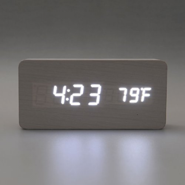 Wooden Digital Desk Clock Alarm Clock Time Date Thermometer Real Wood ...