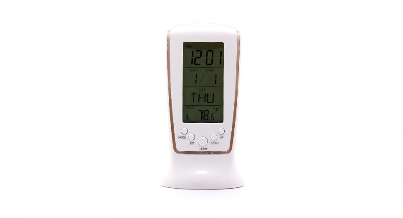 Blue Backlit LCD Digital Music Alarm Clock + Calendar + Thermometer ...