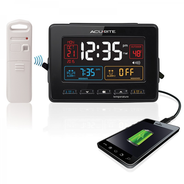 Atomic Clock with Dual Alarm, USB Charger and Temperature | Acurite