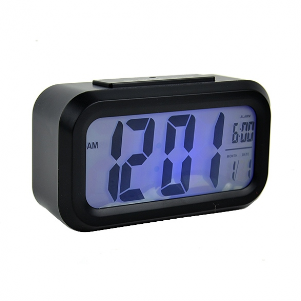 New Snooze/Light Large LCD Digital Backlight Alarm Clock Black