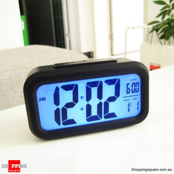 Black Color Snooze/Light Large LCD Digital Backlight Alarm Clock ...