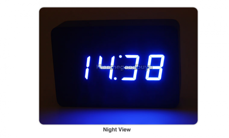 ... about NEW Modern Black Wooden Digital Blue LED Alarm Clock Date Temp