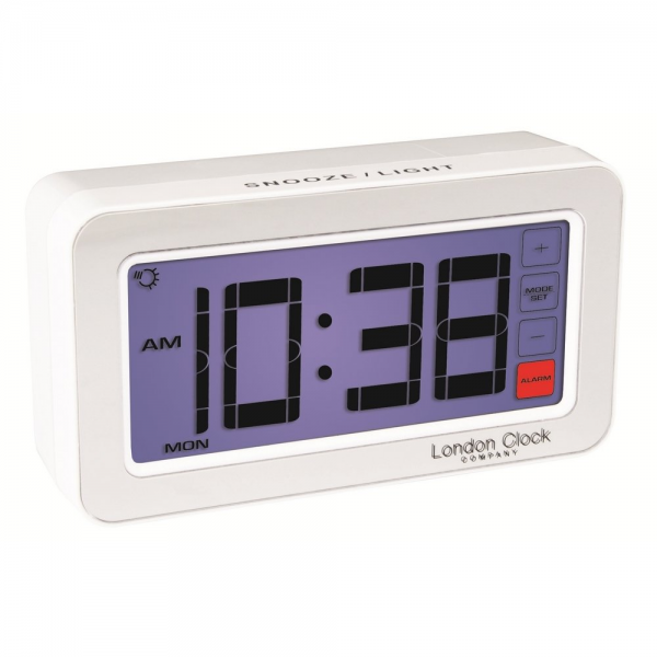 London Clock Co London Clock Co Touch Screen White Digital Alarm Clock ...