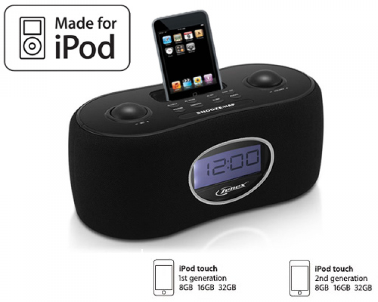 Details about New Black iPod Touch Docking Station Alarm Clock Radio