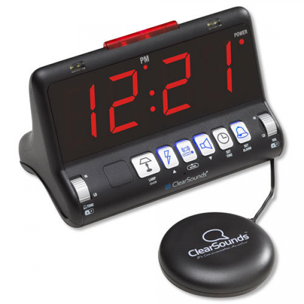 ClearSounds SW200 ShakeUp to WakeUp Dual Large Display Alarm Clock