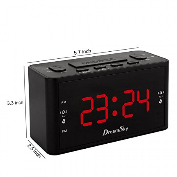 Dreamsky Large Display Dual Alarm Clock With Fm Radio ,battery Backup ...