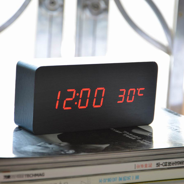 Alarm Clocks, Thermometer LED Digital Clock,Wood wooden Big Numbers ...