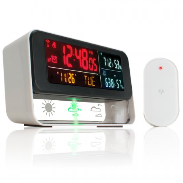 clock with wireless outdoor barometric sensor with color led display ...
