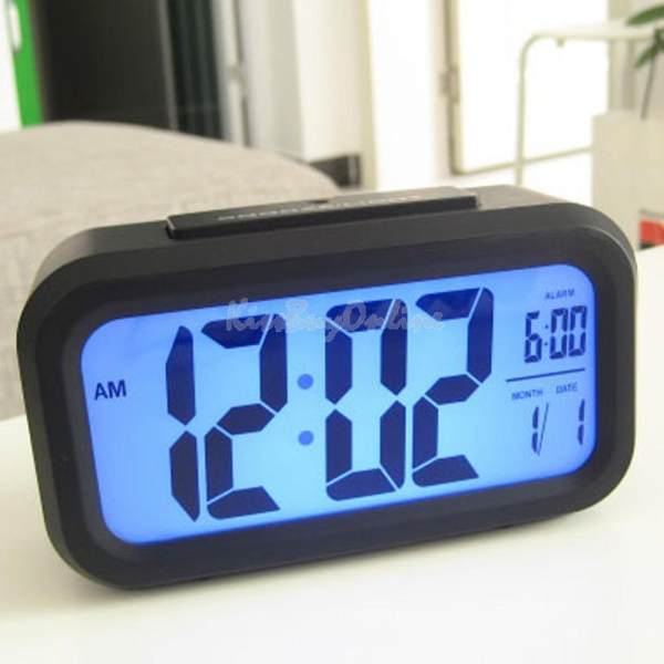 Digital Snooze Electronic Alarm Clock with LED Backlight Light Control ...