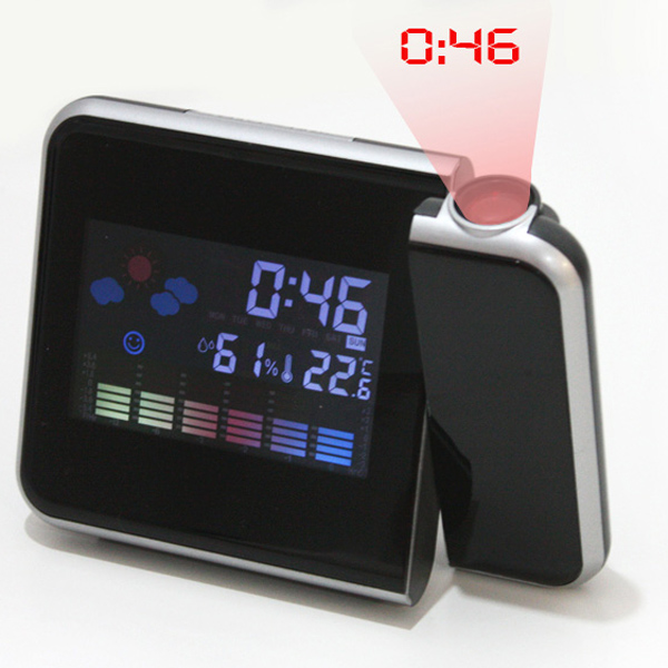 PKE DIGITAL WEATHER PROJECTION SNOOZE ALARM CLOCK,Color Display, LED ...