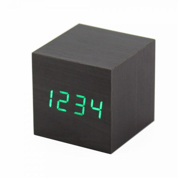 Black Modern LED USB Battery Calendar Thermometer Digital Wooden Alarm ...
