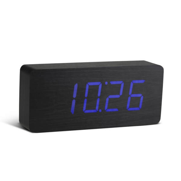Gingko Rechargeable Slab Black Wood Click Alarm Clock Digital Blue LED ...