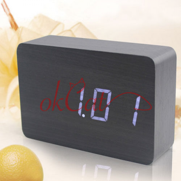 Wood Blue LED Office Desk Wooden Digital Alarm Clock Black 818 14 ...