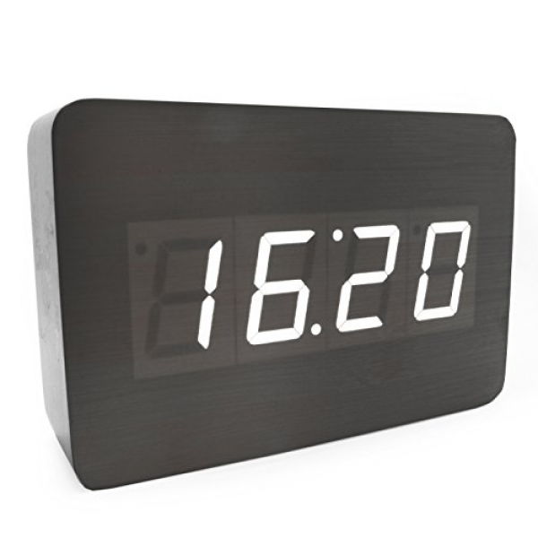 ... Touch Activated Desk LED Digital Alarm Clock (Black Wood - White LED
