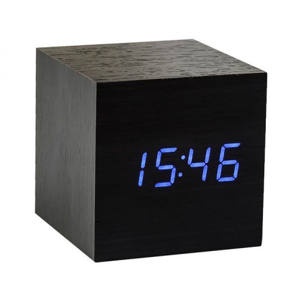 Cube Black Alarm Clock with Blue LED display | Menkind