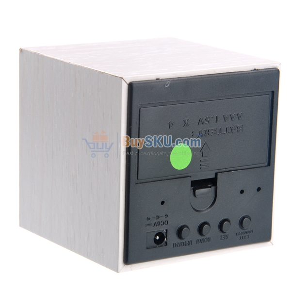 Mini Cube Shaped Voice Activated Green LED Digital Wood Wooden Alarm ...