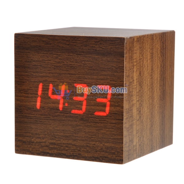 Mini Cube Shaped Voice Activated Red LED Digital Wood Wooden Alarm ...