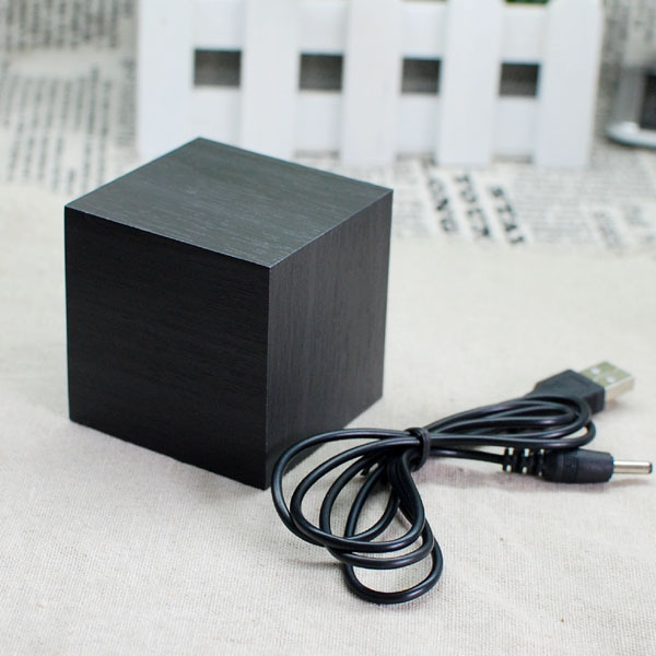 Black Base Red LED Cube Mini LED Wooden Digital Alarm desk Clock ...