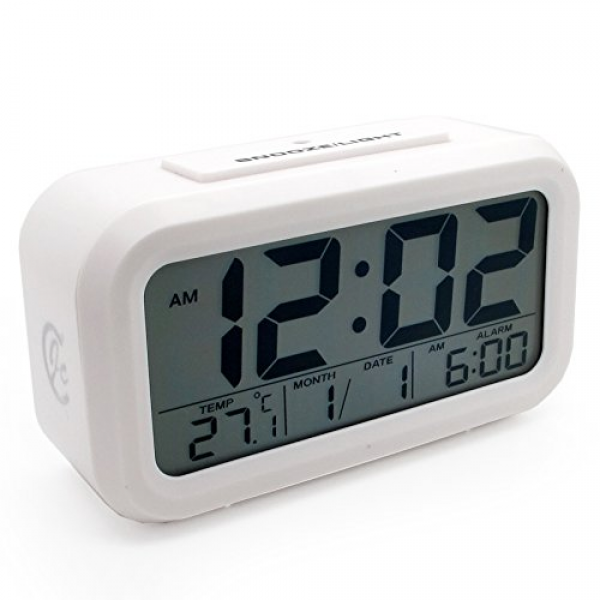 ... Bedside Digital Snooze Alarm Clock with Date and Temperature Display