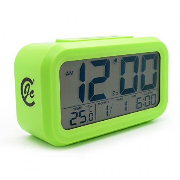 ... Digital Snooze Alarm Clock With Date And Temperature Display (green