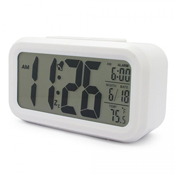 ... Digital Snooze Alarm Clock With Date And Temperature Display (white
