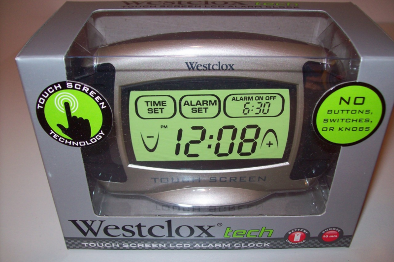 Details about Westclox Tech Touch Screen Lcd Alarm Clock 49405
