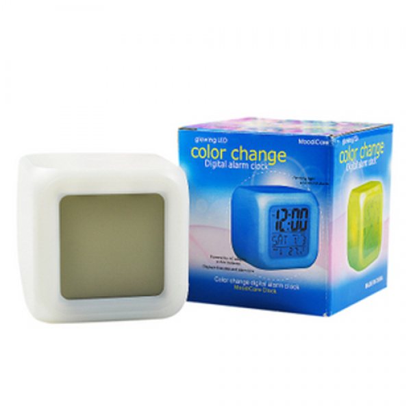 LED Color Changing Glowing Alarm Thermometer Digital Clock