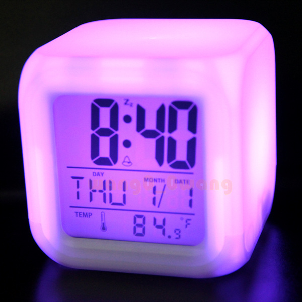 LED Change 7 Color Digital Alarm Clock Thermometer Calendar Night ...