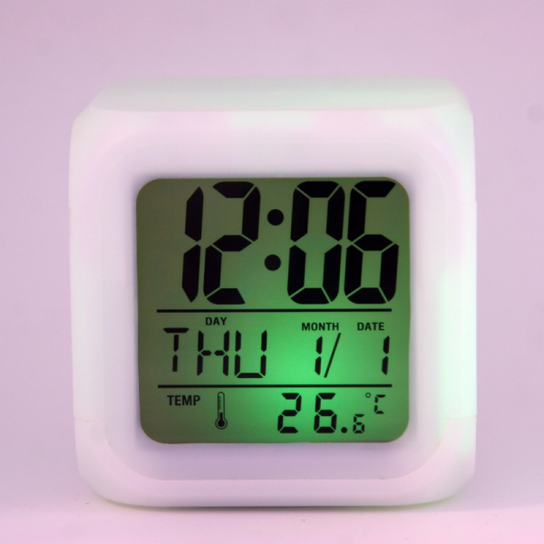 LED Color Changing Alarm Thermometer Digital Clock