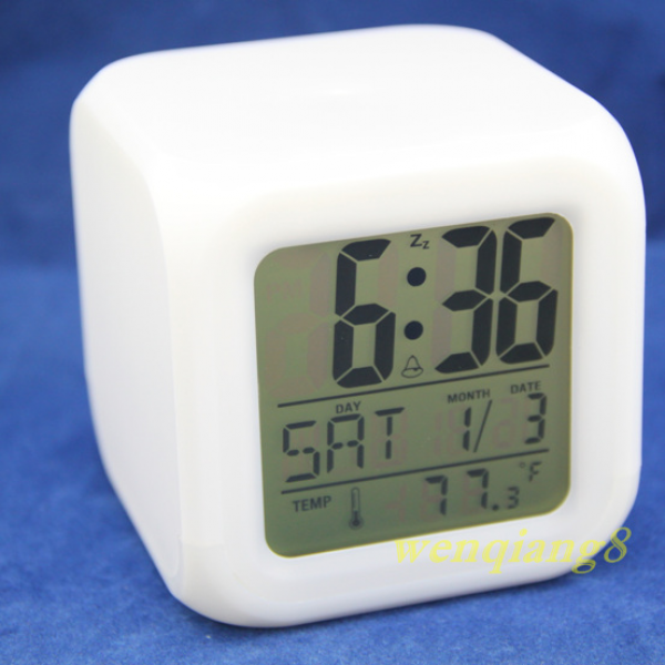 Details about 7-LED Color Colors Change White Digital Alarm Clock Home ...
