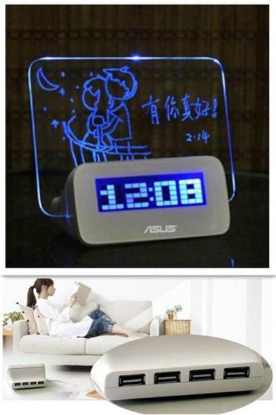 Led Digital Alarm Clock with Writing Board+Highlighter Pen 4 USB Port ...