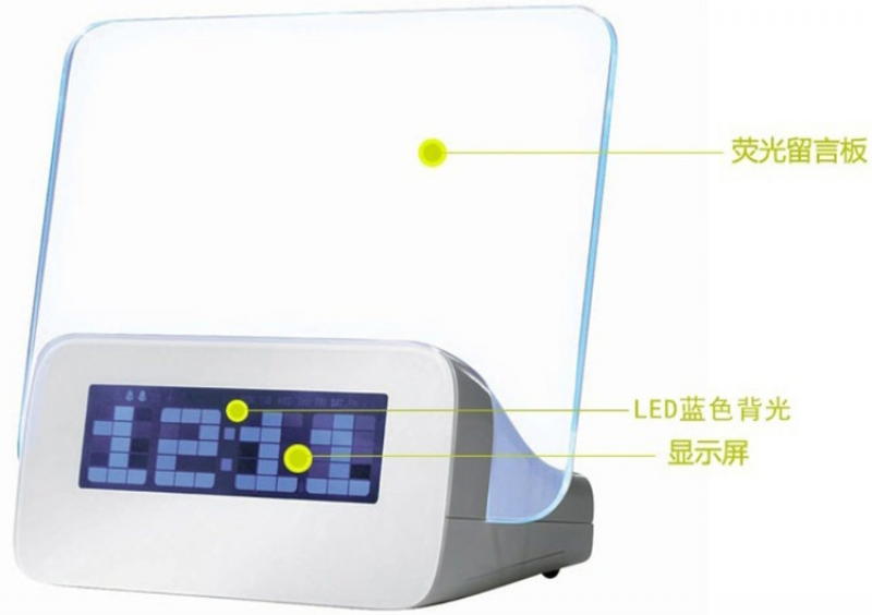 Led Digital Alarm Clock with Writing Board+Highlighter Pen 4 USB Port