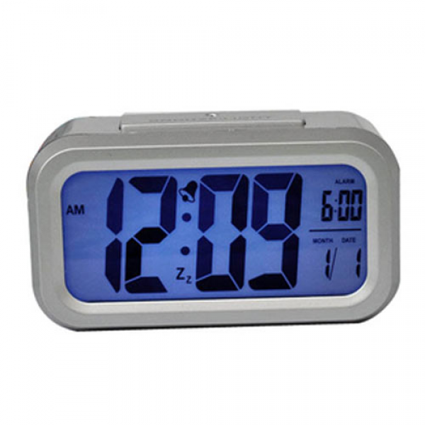 LCD Digital Snooze Alarm Clock with Blue LED Backlight - Silver