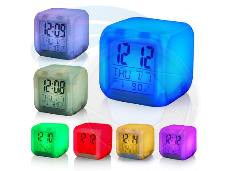 LED Color Change Digital Alarm Thermometer Clock - Alarm Clocks