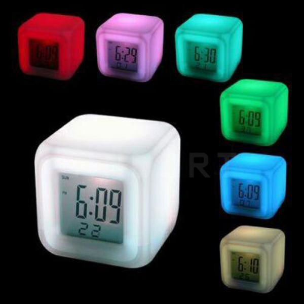 Glowing LED Color Change Digital Alarm Clock Temperature Display