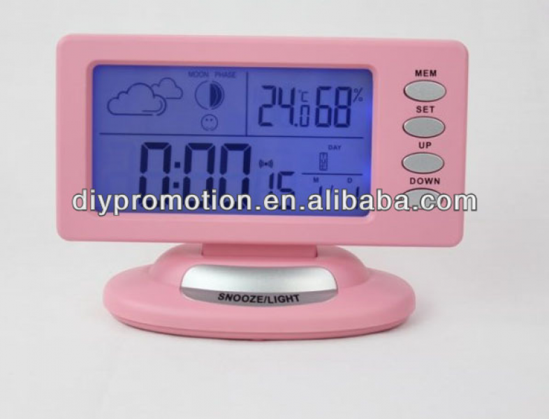 Colorful design digital transparent weather multifunction alarm clock ...