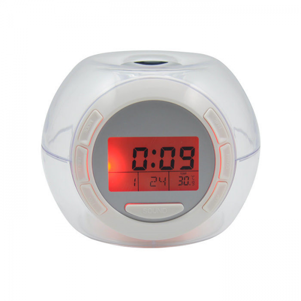 Digital Snooze Alarm Clock 7 Color LED Round LCD Backlight Temperature ...