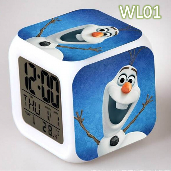 Frozen Digital Alarm Clock 6 Different Colour Change Night Glowing ...