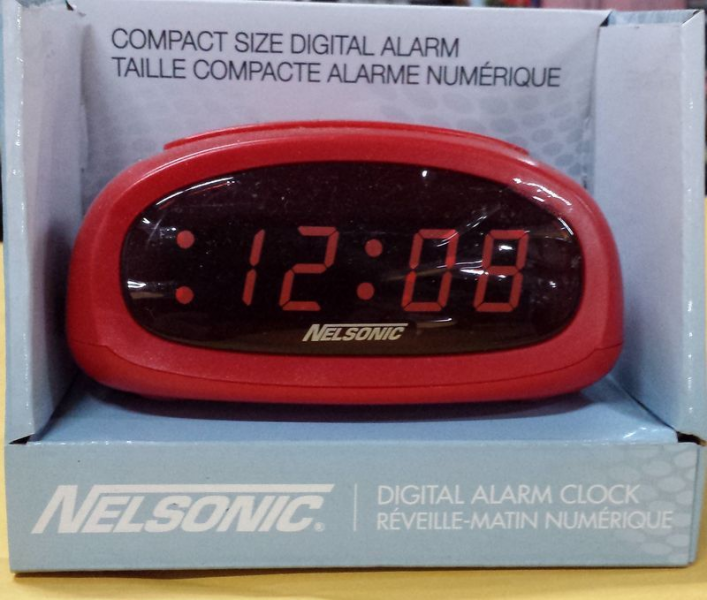 NELSONIC compact size digital alarm clock, red