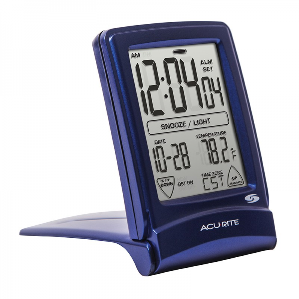 Set & Forget® Digital Travel Alarm Clock with Touchscreen | AcuRite