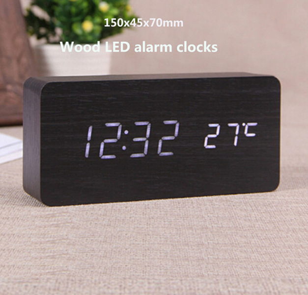 mute Alarm clock luminous led electronic clock small large wooden ...