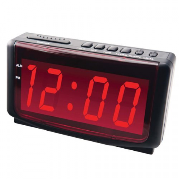 Description: Easy to read Jumbo 1.8 LED red display alarm clock ...