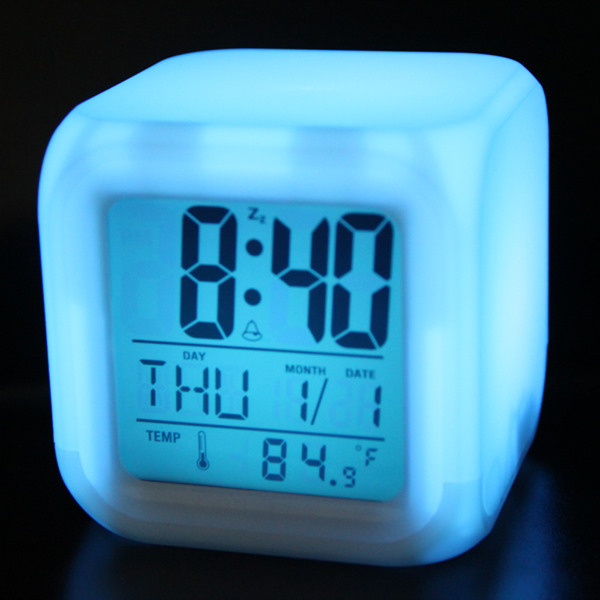 colour glowing led cube digital alarm clock digital alarm. Black Bedroom Furniture Sets. Home Design Ideas