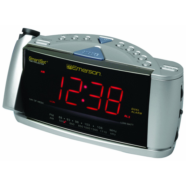 Projection Alarm Clock Emerson CKS3528 SmartSet Projection Clock Radio ...