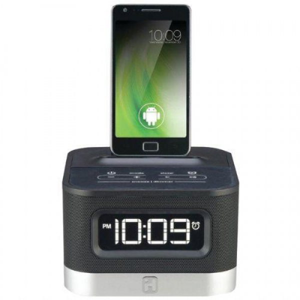 IHOME IC50B UNIVERSAL CHARGING FM STEREO ALARM CLOCK RADIO FOR ANDROID ...